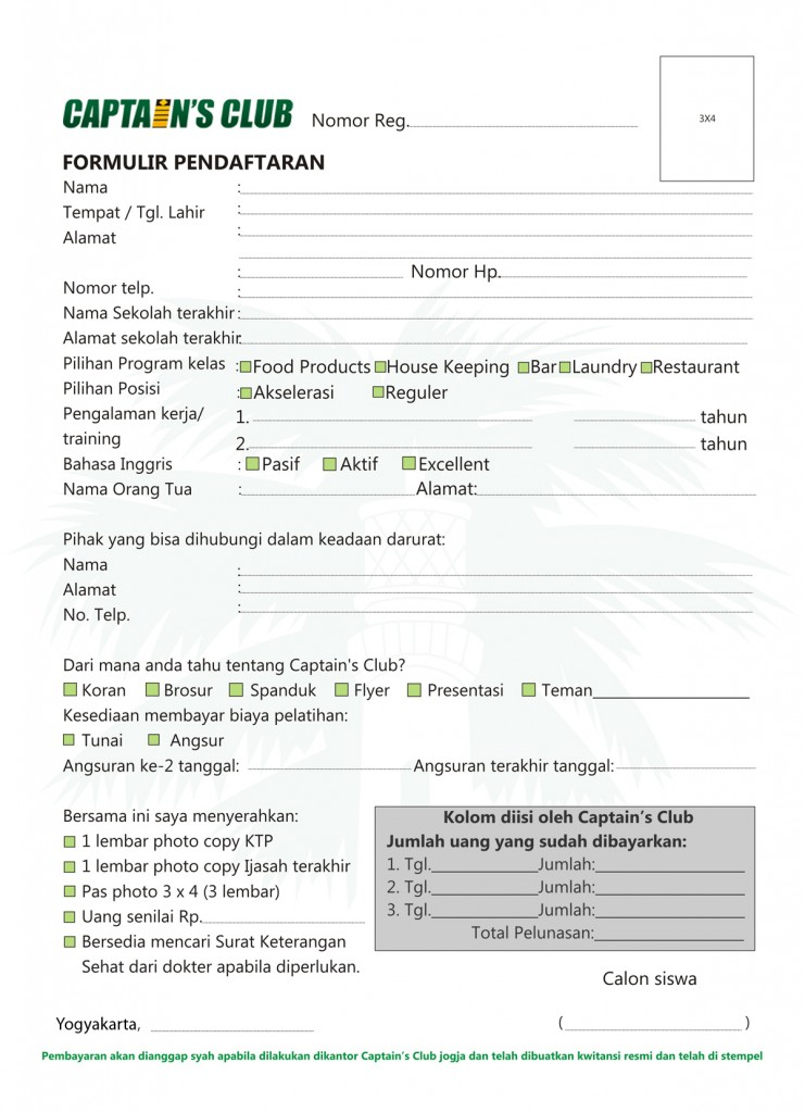 Formulir Pendaftaran Sekolah Kapal Pesiar Yogyakarta Dan Hotel